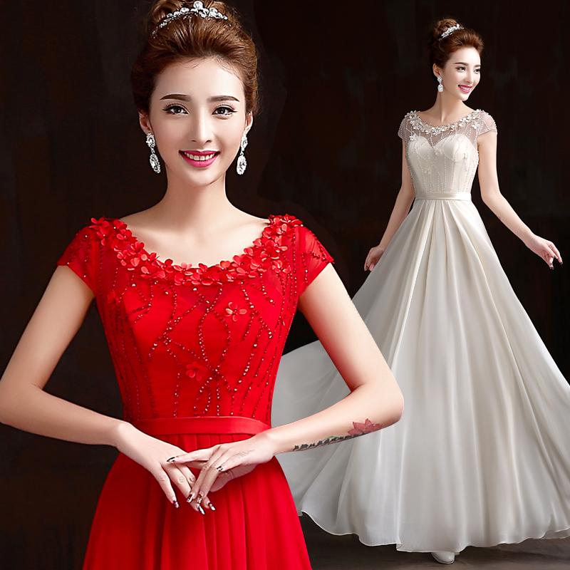 宴会晚礼服2014新款冬季敬酒服新娘结婚礼服冬款红色一字肩长款