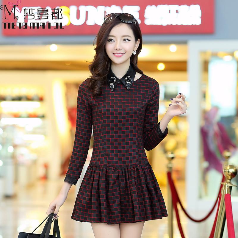 梦曼都2014秋装新款韩版女装 修身收腰中袖气质格子百褶裙连衣裙