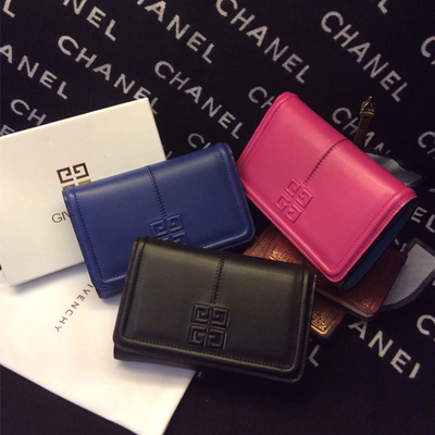 2014 new leather short wallet Ji family triple buckle big candy-colored leather wallet Europe cross section