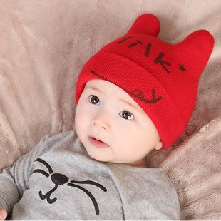 宝宝帽子儿童针织帽婴儿套头帽3-6-12月双层加厚保暖帽春秋冬季帽