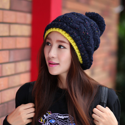 Korean female winter wool hat warm autumn and winter stocking cap female taxi thick velvet ear hat knit cap Baotou