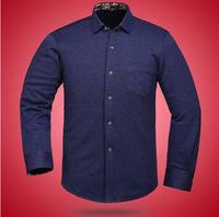 中老年长袖衬衫爸爸装 针织印花保暖衬衫加绒加厚 修身休闲衬衣