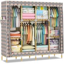 双人实木布衣柜 简易 布艺组合衣柜收纳大号加固简易衣柜衣橱组装