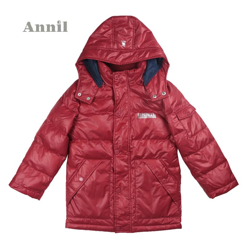 安奈儿男童装 2014年新款中长款中厚羽绒服AB445436专柜正品特价