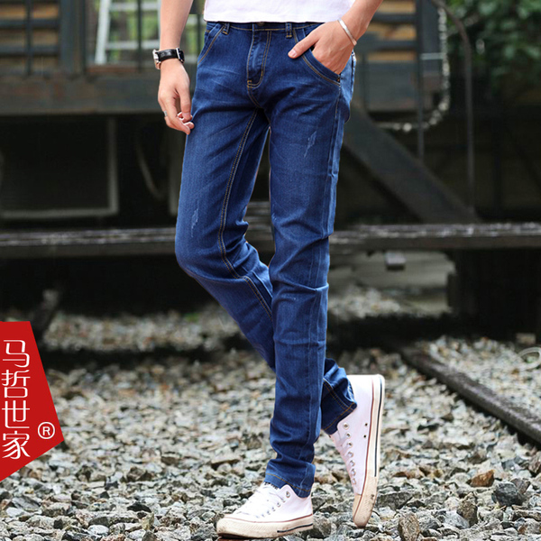 Cotton Flax plus thick velvet jeans male Korean version of Slim feet stretch denim long pants influx of male adolescents