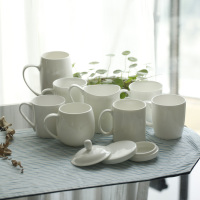 正品纯白骨瓷盖杯陶瓷杯带盖杯水杯奶杯咖啡杯子陶瓷送咖啡勺