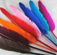 12色diy驼背大羽毛婚庆羽毛印第安头饰天使翅膀羽毛笔材料10根价