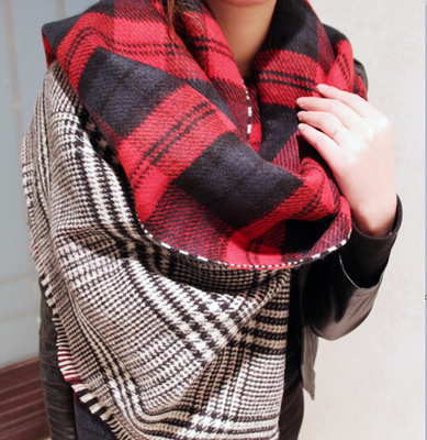 2014 new winter retro British style Scottish plaid thick double-sided cashmere shawl scarf female