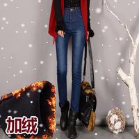 2015冬季加绒加厚牛仔裤女装保暖小脚铅笔裤女式大码显瘦修身女裤