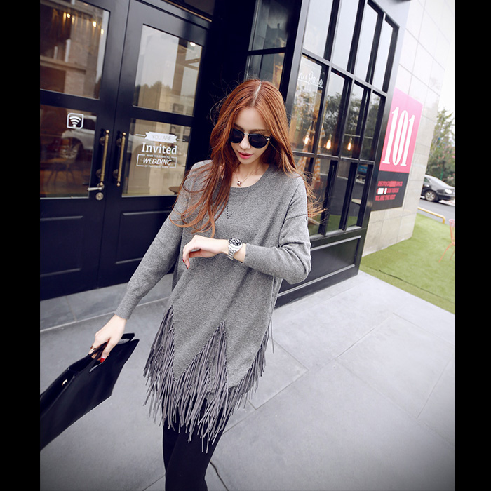 Sissy small can of fresh new autumn and winter fashion designs of modern suede fringed hem sweater out of the street
