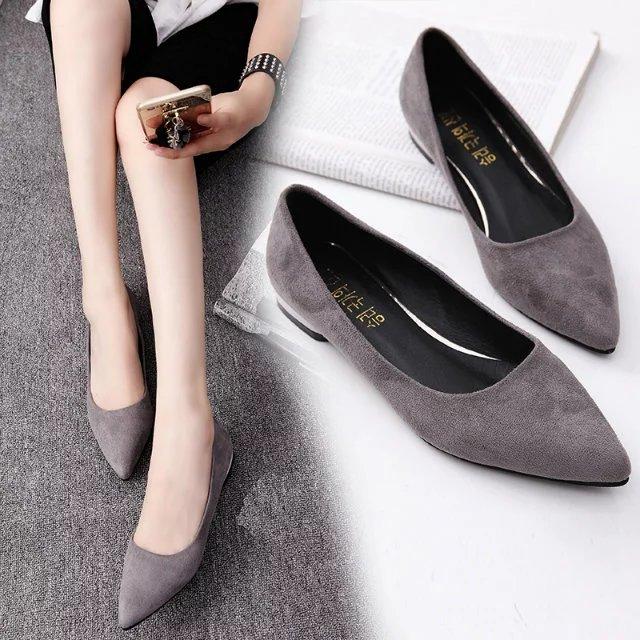 2016秋季新款单鞋女鞋尖头绒面浅口平跟平底鞋女低跟黑色工作鞋子
