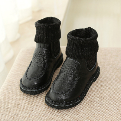 Korean version of the new children's winter boots Martin boots cowhide leather boys girls cotton velvet boots low tube boots