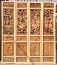定制 东阳木雕 仿古门窗 隔断 屏风 玄关 实木门 雕花门 花格门