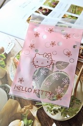 【小虾】日韩Hello kitty精美卡通自封袋 透明加厚大小号首饰袋1
