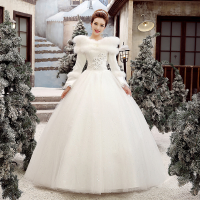Heaven wedding dress winter wedding dress 2014 new winter word shoulder long-sleeved thick winter white cotton plus