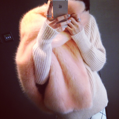 13C 1212 custom high imitation fox fur fur shawl warm pink waxy waxy white CR03