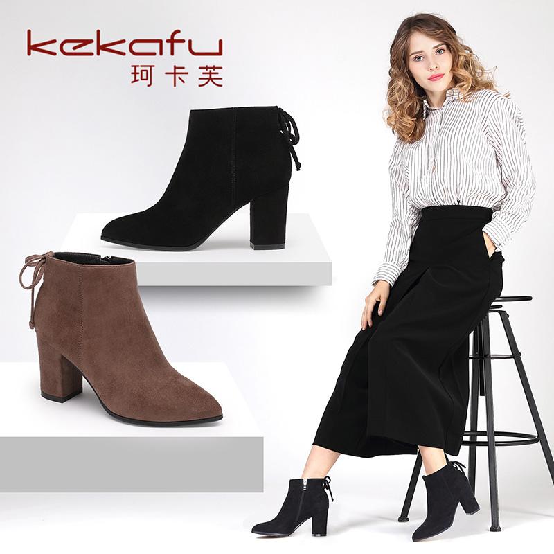 珂卡芙秋冬季靴子英伦尖头短靴女高跟马丁靴粗跟及裸靴时装鞋女靴