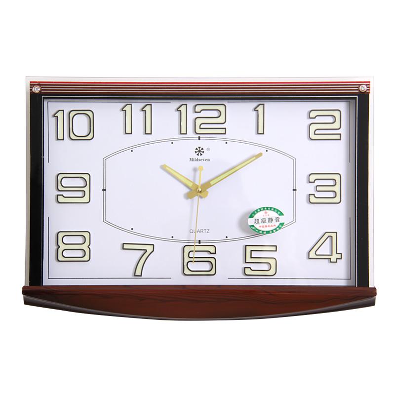 七王星16英寸客厅静音钟表电子石英钟办公商务大挂钟客厅夜光钟表