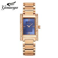 格诺雅正品韩国女手表时尚潮流方形玫瑰金手表女休闲钢带品质手表
