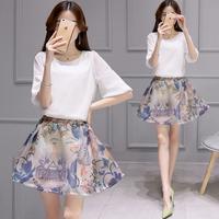 2016夏春秋新款韩版女装两件套连衣裙 淑女风上衣+半身裙包裙短裙