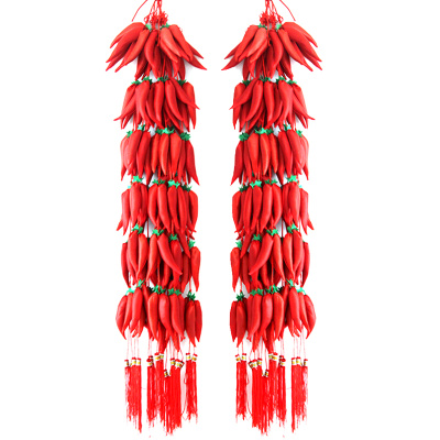 2015 New Year decorations knot pendant Chinese New Year silk stocking chili string