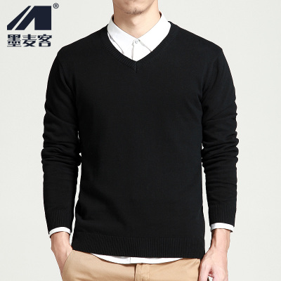 The SF Mexican wheat off winter men's V-neck sweater sweater Men Korean Slim hedging sweater male tide