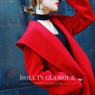 2018秋冬大红色羊毛呢大衣连帽中长款宽松系腰带流行外套女冬