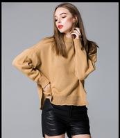 韩国2015秋冬新品爆款纯色卷边开叉套头前短后长宽松显瘦套头毛衣