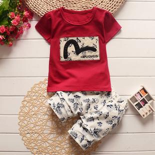 儿童新款短袖T恤套装可爱卡通宝宝套装夏季纯棉男童女童婴儿衣服