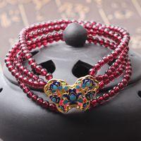 包邮6A级天然珠宝 莫桑比克红石榴石景泰蓝设计款手链 特价秒杀款