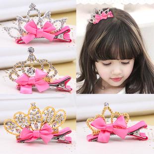 儿童发饰立体珍珠蝴蝶结水钻公主边夹生日顶夹发卡女童头饰品