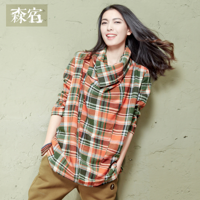 Sen-stricken places SAMS TREE ~ asymmetrical collar Plaid Dress