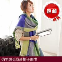 仿羊绒长方形格子围巾女秋冬季披肩两用流苏百搭情侣韩版舒适保暖