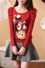 Round collar of new fund of 2014 autumn winters is embroidered ladies knitted sweater render women long sleeve hubble-bubble sleeve cultivate one's morality double 12 special offer