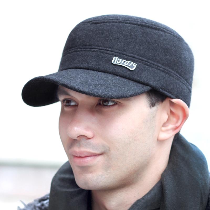 冬季男士帽子韓版保暖平頂帽秋冬護耳時尚男帽潮中老年人帽圖片