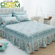 欧苏缦全棉荷叶边床罩纯棉床裙式单件防滑床套床单1.5m1.8米2.0床