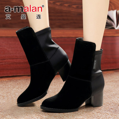 Ayman even the new autumn and winter 2014 Europe and thick with scrub bush really Pima Ding boots Girls boots with Knight