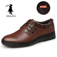 冬天款加绒男鞋子英伦商务休闲鞋青年系带皮棉鞋中年男士休闲皮鞋