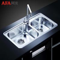 阿发水槽 厨房洗菜盆 加厚304不锈钢一体拉丝 水槽双槽套餐WX9044