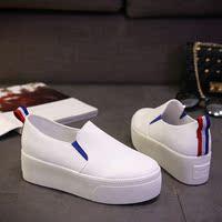 2016夏季新款低帮鞋女鞋松糕跟韩版纯色圆头中跟胶粘鞋橡胶中口鞋