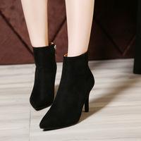 呛口小辣椒2015新款女鞋短靴欧美尖头细跟短靴马丁靴拉链短靴女冬