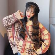 秋季复古格子学院风慵懒风V领套头长袖针织衫毛衣上衣外套女