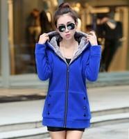 冬装毛绒外套保暖开衫连帽卫衣女韩版大码宽松加厚加绒卫衣女外套
