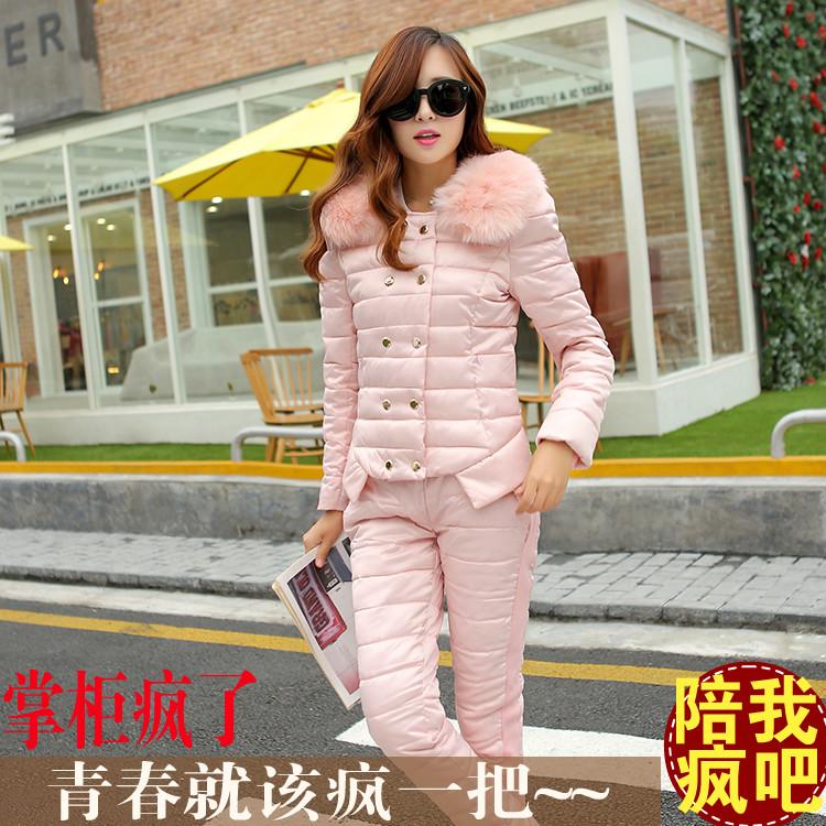 Почтовые новый стильный Корейский 2014 зима Edition of тощие парни, которые холодный теплый мягкий ошейник вниз куртка костюм женщин