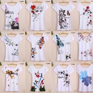 2018夏季打底上衣圆领白色纯棉印花t恤民族风女装短袖恤衫女