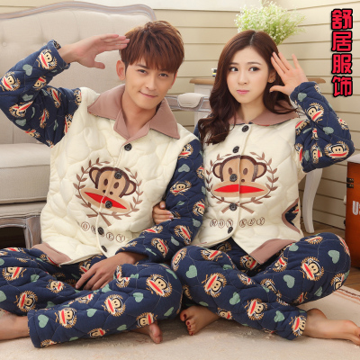 Three thick winter quilted cotton knit pajamas Lesbian couple warm tracksuit suit cartoon XL