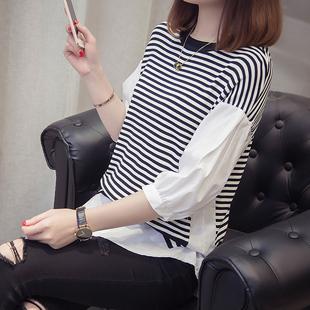 假两件拼接条纹中袖T恤女2019春装短袖半袖港风冰丝上衣