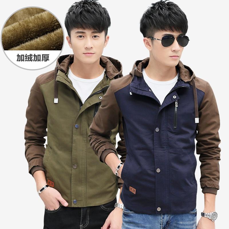 2015新款以纯棉水洗夹克男装韩版 加绒加厚拼接青年可卸帽秋外套