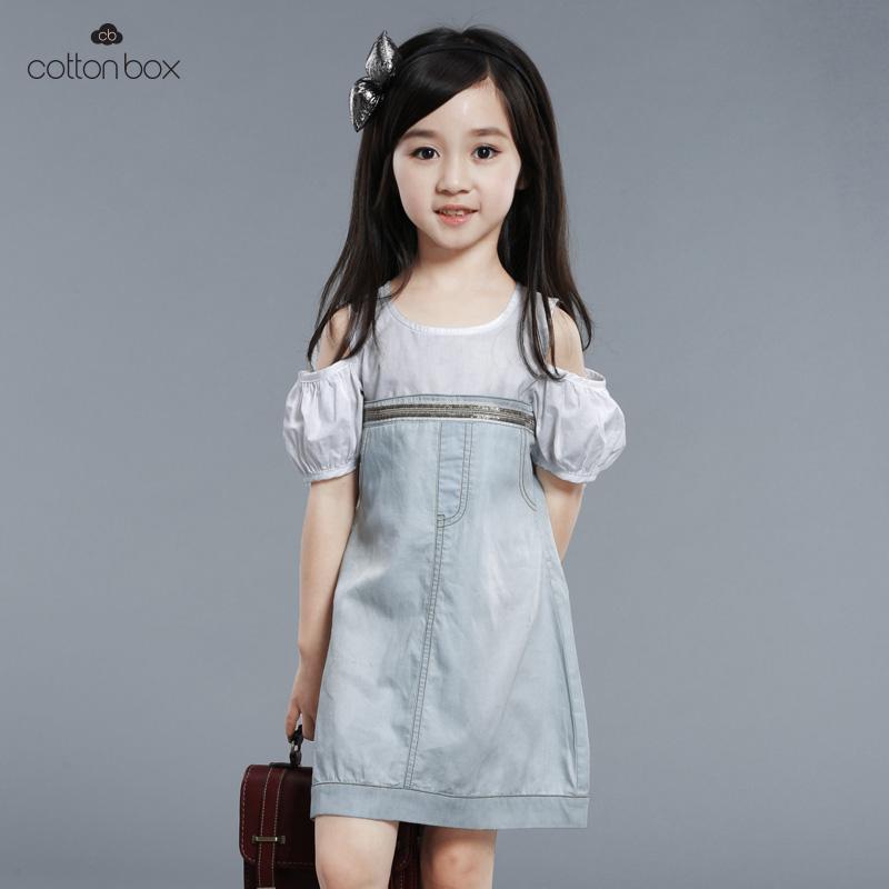 新款童装女童夏装连衣裙短袖淑女露肩牛仔裙拼接纯棉儿童公主裙子