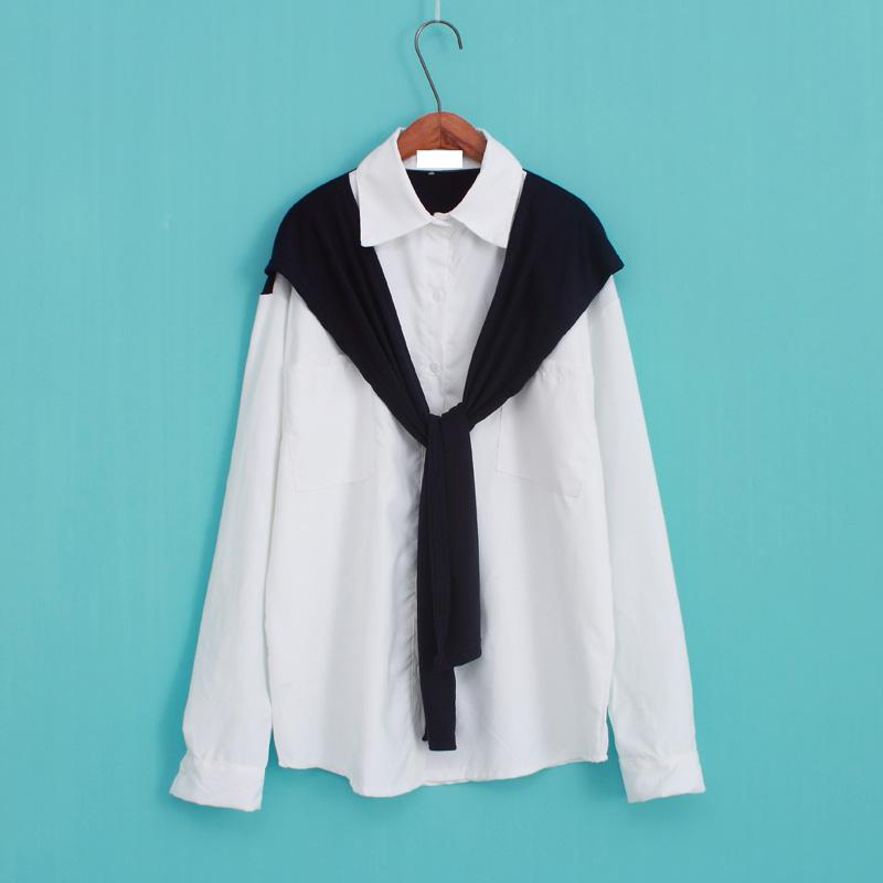 假兩件大碼寬鬆長袖白襯衫